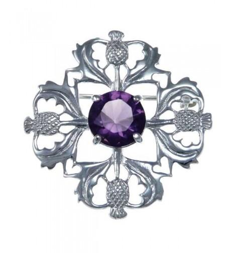 Sterling Silver Purple Thistle Brooch