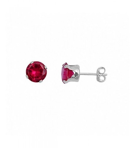 Earring Round Simulated Sterling Silver