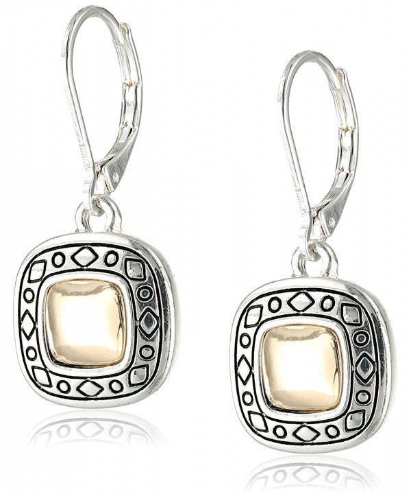 Napier Pattern Two Tone Leverback Earrings