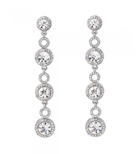 BriLove Wedding Chandelier Earrings Silver Tone