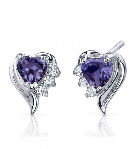 Simulated Alexandrite Earrings Sterling Rhodium