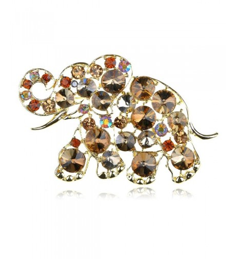 Alilang Golden Colored Rhinestones Elephant