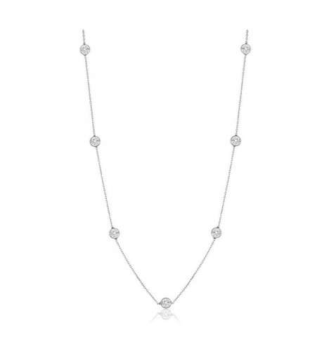 Sterling Silver Zirconia Station Necklace