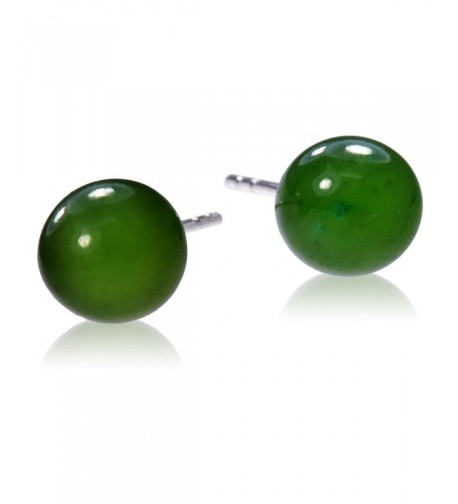 Sterling Silver Nephrite Round Earrings