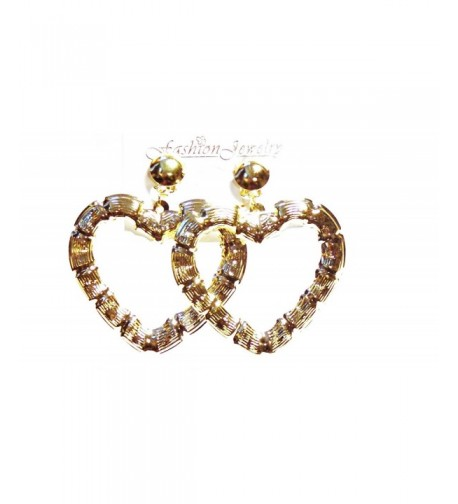 Clip Earrings Bamboo Heart Gold