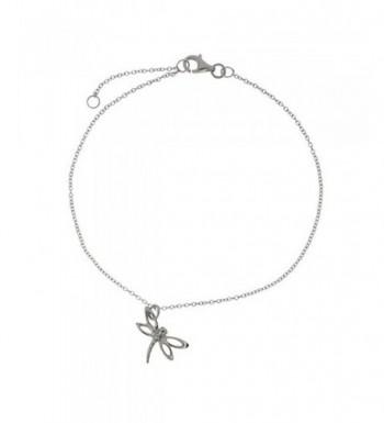 Sterling Silver Dragonfly Anklet Bracelet