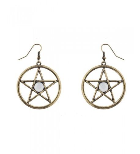 Lux Accessories Goldtone Pentagram Earrings