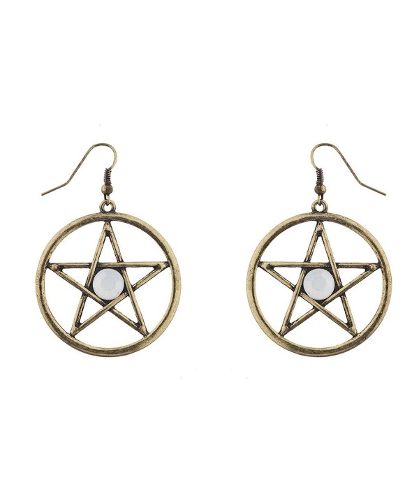 Lux Accessories Goldtone Pentagram Earrings