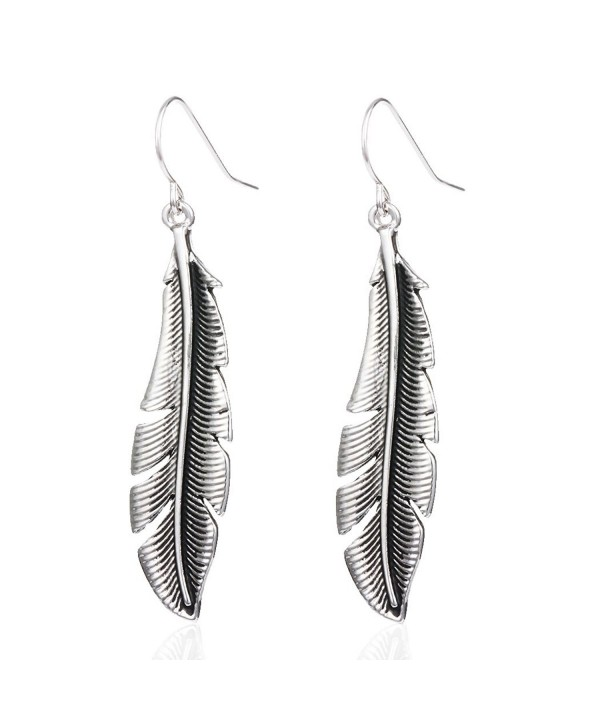 HUIMEI Antique Silver Feather Earring