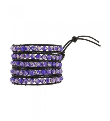 Womens Leather Simulated Sediment Bracelet