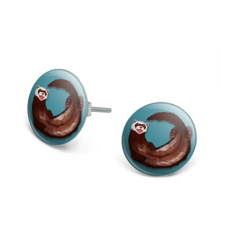 Ferret Novelty Silver Plated Earrings