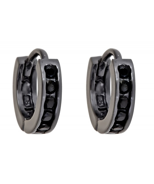 Sterling Zirconia Channel Huggies black rhodium plated silver