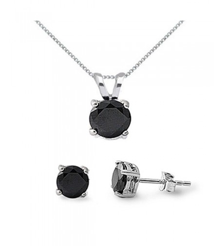 Sterling Silver Black Necklace Earrings