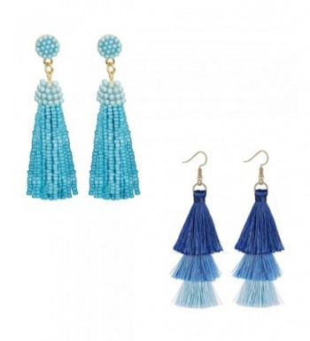 ORAZIO Tassel Earrings Beaded Fringe