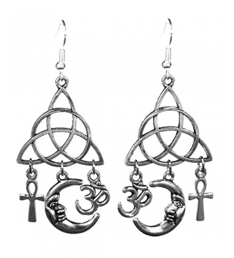 Silvertone Earrings Egyptian Crescent Triquetra