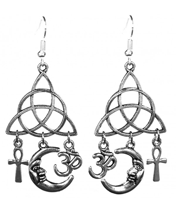 Silvertone Earrings Egyptian Crescent Triquetra