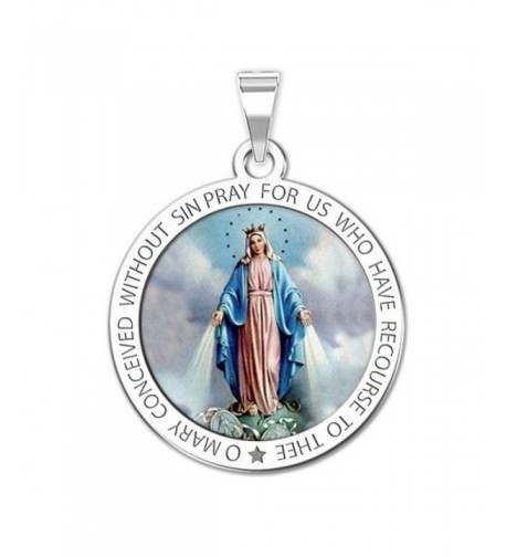 Miraculous Medal Round Color Sterling