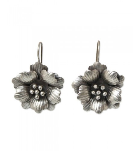 NOVICA Silver Flower Earrings Delicate