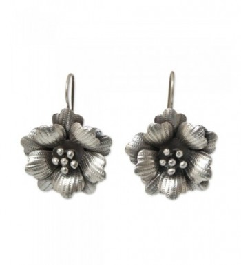 NOVICA Silver Flower Earrings Delicate