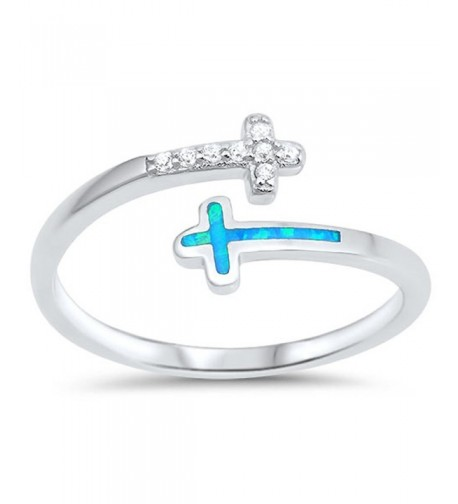 White CZBlue Simulated Sterling Silver