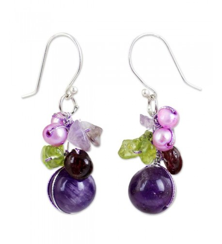 NOVICA Amethyst Earrings Cultured Freshwater