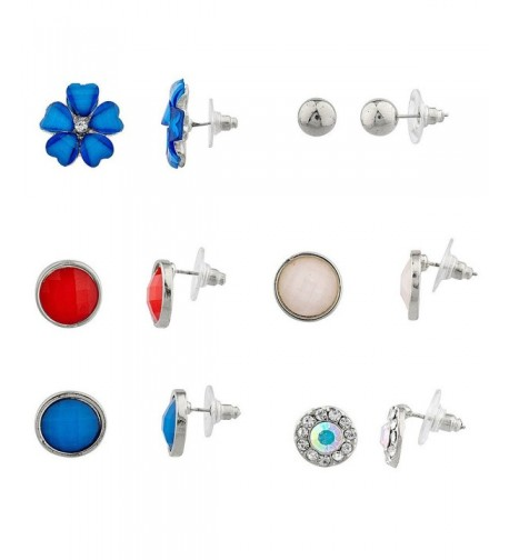Lux Accessories Silvertone Patriotic Earring