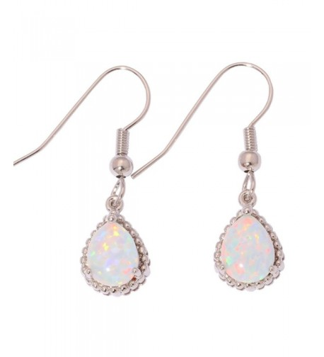 CiNily Created Rhodium Gemstone Earrings