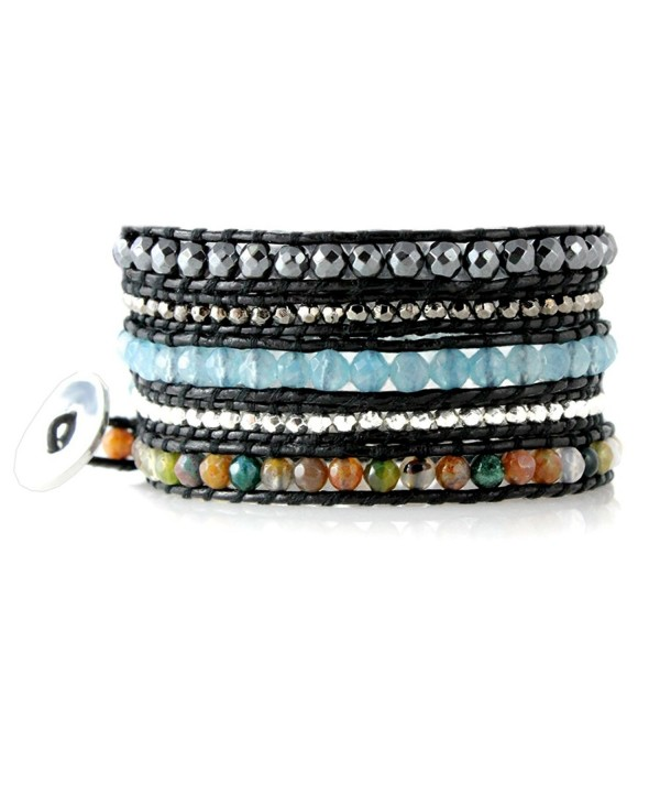 Marrakech Colorful Faceted Leather Bracelet