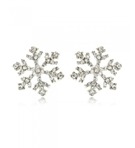 Sparkling Crystal Snowflake Earrings Christmas