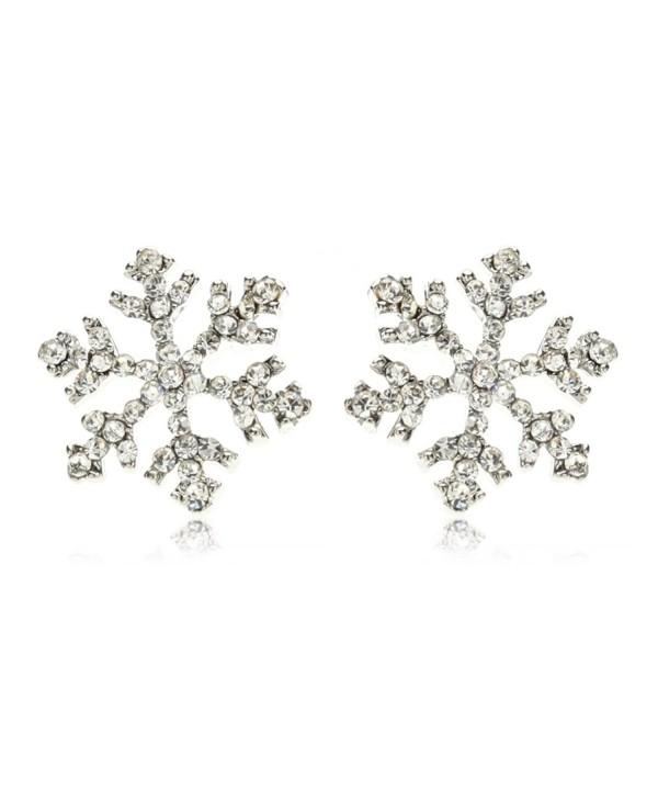 Sparkling Crystal Snowflake Earrings Christmas