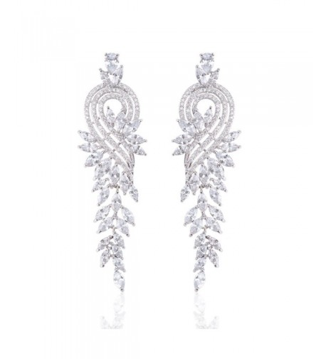 Ginasy Zirconia Earrings Tassels Platinum