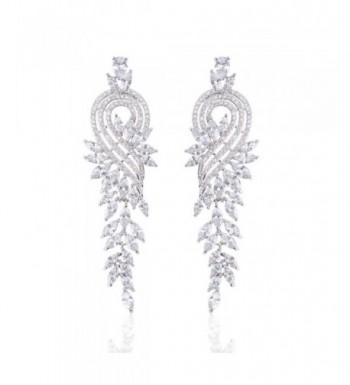 Ginasy Zirconia Earrings Tassels Platinum