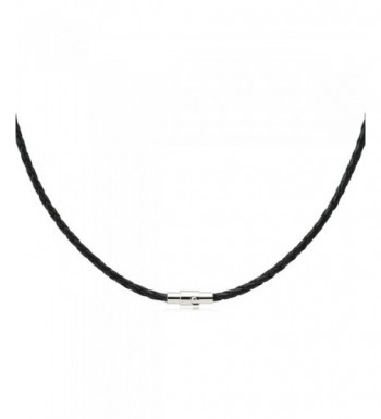 Black Braided Leather Necklace Magnetic