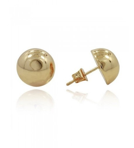 Button Earring Yellow Plated Sterling