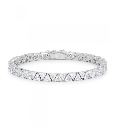Genuine Rhodium Trillion Zirconia Bracelet