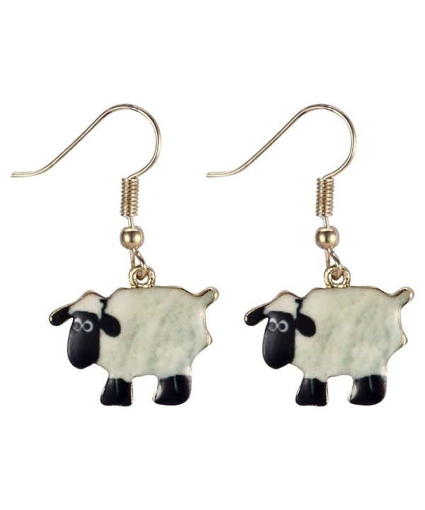 Drop Earring Sheep White Alloy