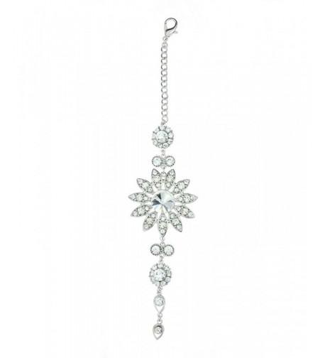 Rhinestone Floral Designed Necklace Silver Tone