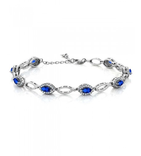 Marquise Simulated Sapphire Sterling Bracelet