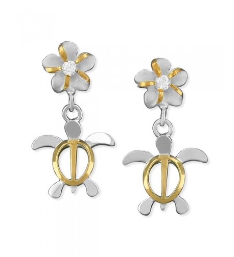 Sterling Silver Accents Plumeria Earrings