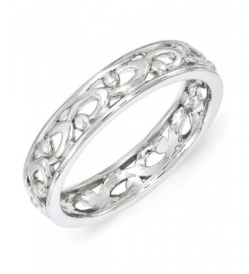 4 25mm Rhodium Plated Sterling Stackable