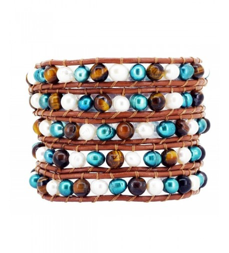 Colored Freshwater Cultured Leather Bracelet