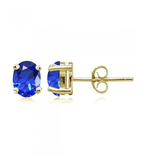 Flashed Sterling Simulated Sapphire Earrings