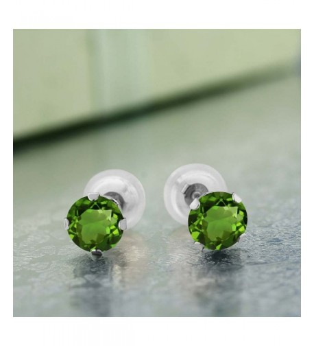 GemStoneKing Fashion Earrings Diopside 4 prong