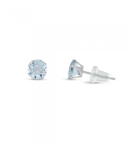 Round Simulated Aquamarine Earrings Birthstone