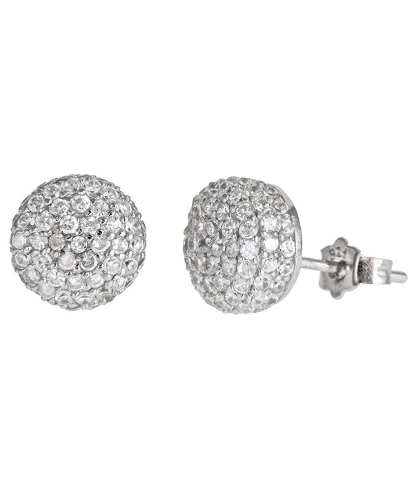 Sterling Silver White Pave Earrings