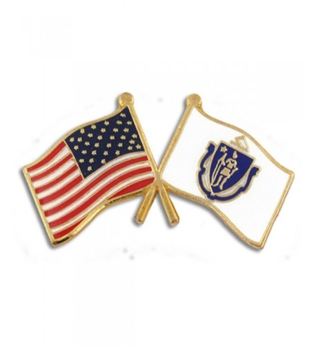 PinMarts Massachusetts Crossed Friendship Enamel
