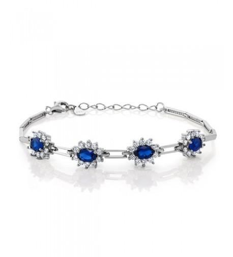 Simulated Sapphire Sterling Bracelet Extender
