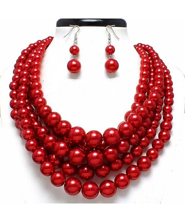 Statement Layered Strands Simulated Pearl Necklace