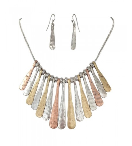 Boutique Necklace Earring Tri Tone Hammered