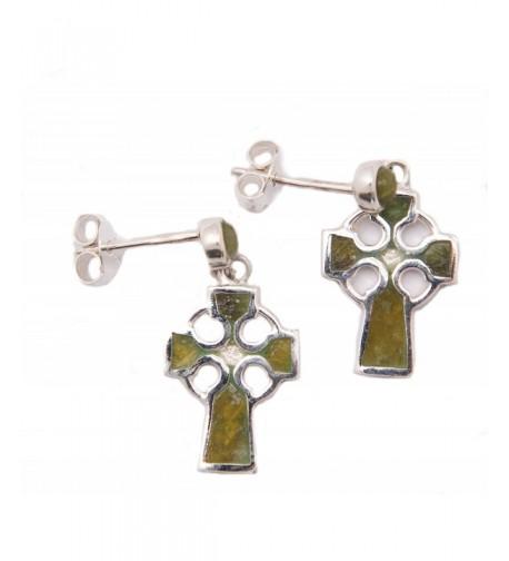 Celtic Cross Earrings Connemara Marble